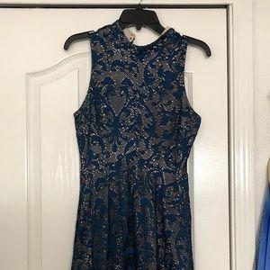Navy Blue Lacey Dress Size L